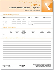 Picture of TOPL-2 Examiner Record Book 6-7 Year Old