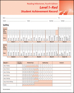 Picture of Reading Milestones-Fourth Edition, Level 1 (Red) Student Achievement Record (10 Pack)